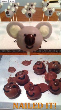 Nailed it!! Koala Cake Pops...