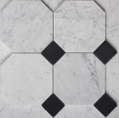 - Carrara Octagon with Nero Marble Dot Soccer Ball, Carrara, Tiles, Marble, Room Tiles, Tile, Granite, Futbol, Marbles