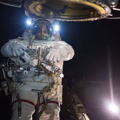 """nasa Suited Up for a Day's Work: Astronaut Randy Bresnik (@AstroKomrade) is seen wearing his spacewalking suit, an Extravehicular Mobility Unit, during an October 5 spacewalk to replace a degraded robotic arm """"hand,"""" called the Latching End Effector, on the tip of the International Space Station's (@ISS) robotic arm, the Canadarm2. This was the first of three spacewalks planned for October. The second and third spacewalks will be devoted to lubricating the newly installed end effector and…"""