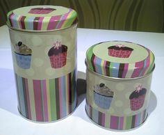 latas decoradas set de dos diseño muffins