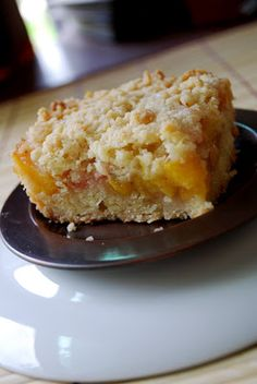 PEACH CRUMB BARS - These are like peach cobbler or crisp in a cookie form! Made from fresh peaches