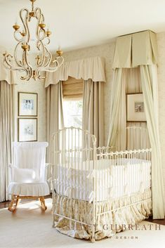 ASHLEY GILBREATH INTERIOR DESIGN: The sweetest nursery designed in neutral tones, perfect for a boy or girl. The antique iron crib is adorned with a beautiful bed canopy, and a beaded chandelier tops off the look. French Nursery Decor, Antique Nursery, Home Design, Interior Design, Interior Architecture, Ashley Gilbreath, White Baby Cribs, Crib For Sale, Iron Crib
