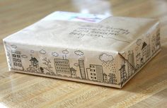 un paquete especial: dibujo, sello o whasi tape transparente #Packaging @hankijoy