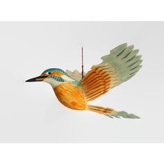 Wooden Kingfisher Hand Carved Fan Bird Mobile, Wood Anniversary Gift,... ($47) ❤ liked on Polyvore featuring home, home decor, mobile home decor, craftsman home decor, arts and crafts home decor, craftsman style home decor and bird home decor