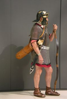 Gus Green as a Roman auxiliary archer during a re-enactment event at the British Museum, Sept 2008. Photo by Roman Mysteries author Caroline Lawrence.