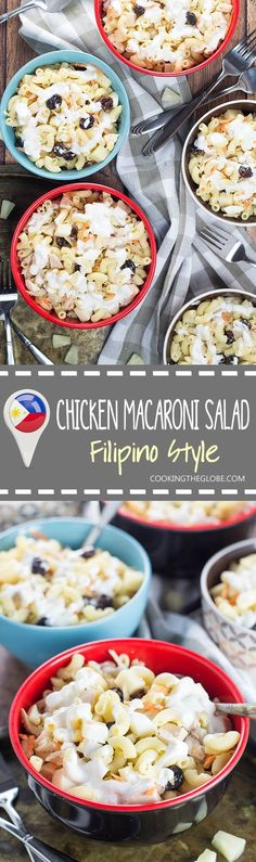 This Filipino Macaroni Salad is not the one you are used to. It features pineapple, raisins, and condensed milk. Mildly sweet, creamy, comforting - you'll love it! | http://cookingtheglobe.com