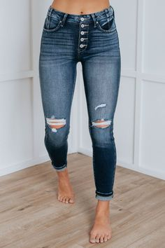 """Jun 24, 2021 - Z O R A ! Our adorable Zora High Rise Kan Can Jeans are here in a stunning dark wash. These gorgeous jeans feature exposed five button closure, intentional distressing, and true skinny look. They have a 10"""" Rise and 29"""" Inseam. Fabric: 93% Cotton, 5% Polyester, and 2% Spandex. We are recommending true to size for most Warm Outfits, Fall Fashion Outfits, Casual Outfits, Cute Outfits, Kan Kan Jeans, Picture Outfits, Fashion Boutique, Beautiful Outfits, My Style"""