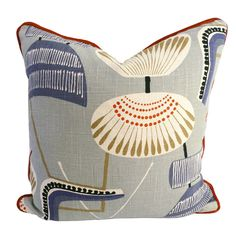 Throw pillows add warmth and comfort to non-upholstered chairs and benches and a sense of color and movement to existing fabric seating. This one features a retro chair pattern in smoky blue, welted in orange velvet. Linen Pillows, Decorative Pillows, Throw Pillows, Textiles, Patterned Chair, Joss And Main, Upholstered Chairs, Decoration, Rugs On Carpet