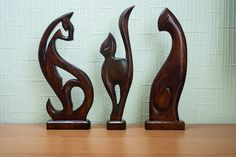 3 Hand Carved Wooden Cats