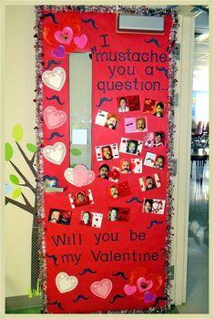 "Valentines Day Classroom Door I ""mustache"" you a question. February Classroom Door or Bulletin Board School Door Decorations, Classroom Decor Themes, Classroom Crafts, Classroom Door, Classroom Ideas, Toddler Classroom, Future Classroom, Valentines Day Bulletin Board, Valentines Day Activities"