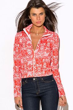 Coral-Ethnic-Print-Zip-Up-Mock-Neck-Sporty-Long-Sleeve-Jacket-Top from Bonita Moda Boutique