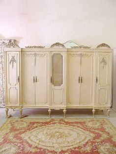 Shabby Vintage Chic Cream Wardrobe Louis French Armoire 7 Door Large WOW | eBay