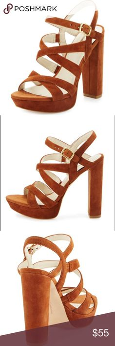 """New! Tan suede heels 70s vibes ✌🏼️ lush tan suede strappy sandals with a 5"""" inch chunky heel and 1"""" inch platform. Fits true to size, new in box! No trades. Lowest! BCBGeneration Shoes Heels"""