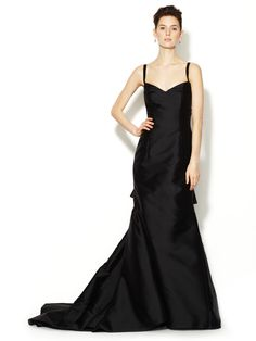 Silk and Wool Multiple Back Wings Gown by Carolina Herrera at Gilt