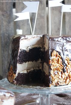 Decadent chocolate cake with peanut butter cheesecake (translates reasonably well from Polish)