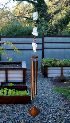 Glass Wind Chime with Large Copper Chimes