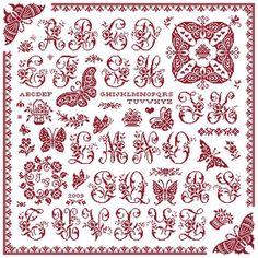 Farfale Sampler - Marquoir rouge au point de croix de Clorami Designs. www.clorami-designs.be