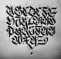 This alphabet reminded me of graffiti art and the way it used the thinner lines in all the letters made it pop out. Tattoo Lettering Styles, Graffiti Lettering Fonts, Chicano Lettering, Creative Lettering, Script Lettering, Calligraphy Letters, Typography Letters, Lettering Design, Tattoo Fonts Alphabet