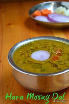 Hara Moong Dal Tadka  Hara Moong Dal/Green Gram(Bean) - 3/4 Cup Onion - 1 Large Tomato - 2 Medium Green Chilli - 4 Ginger-Garlic Paste - 2 tsp [Make your own ginger-garlic paste] Red Chilli Powder - 1 tsp Coriander Seeds Powder - 1 tsp Turmeric Powder - 1/2 tsp Kitchen King Masala (or garam masala) - 1 tsp [Make your own Kitchen King Masala] Crushed Kasoori Methi - 1 tbsp Oil - 1 tbsp Asafoetida/Hing - A Pinch Cumin Seeds - 1 tsp Water - 2 1/2 Cups (or as needed) Salt - To Taste  Cilantro