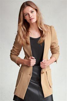 Crepe Collarless Camel Jacket
