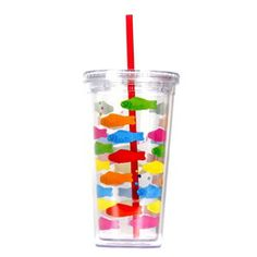 A reusable cold drink tumbler WITH a straw, in my favorite Dylan's Candy Bar Swedish Fish pattern? Yipee! Even water seems sweeter as you sip from this sweet source. Keep cool with your favorite thirst-quencher this summer in this reusable tumbler! Then keep yourself hydrated at the office or in class with these designer tumblers. Buy 2 or 4 or more and make a set that can be used again and again at all your Dylan's Candy Bar parties or gatherings! •BPA-, Phthalate-, and Lead-Free •20 ounces ...