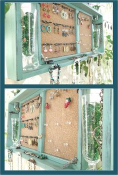 Add lace to a bulletin board and hang your jewelry!  or you could take a window shutter/pane and put corkboard in it with random, cute doorknobs to hang jewelry!
