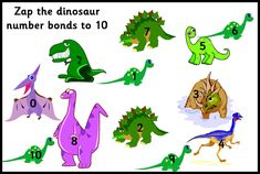 Resource Cupboard: Zap the dinosaur (number bonds to Addition Facts, Math Addition, Addition And Subtraction, Ten Games, Math Games, Number Bonds To 10, Early Years Maths, Dinosaur Games, Singapore Math