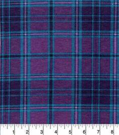 Snuggle Flannel Fabric-Purple Aqua Plaid