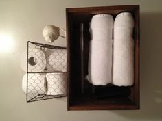 Bathroom shelf made from a wooden crate
