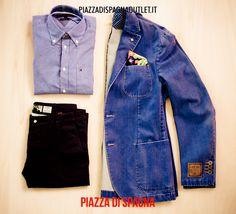 #outfit #man #jacket #blu #look #piazzadispagnaoutlet