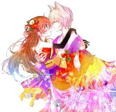 Kamisama Hajimemashita anime transparent 桃園 奈々生 tomoe mikage 巴御影 Nanami Momozono anime anime art anime color anime girl anime boy anime cute tomoe and nanami ♥