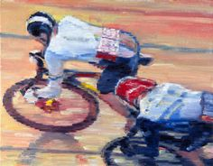 "original oil painting ""Olympic Cyclists on Bicycle Track"" for sale on eBay US $600.00. Click for more details."