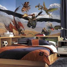 New XL HOW TO TRAIN YOUR DRAGON PREPASTED WALLPAPER MURAL Boys Room Wall Decor in Bedroom, Playroom & Dorm Decor | eBay