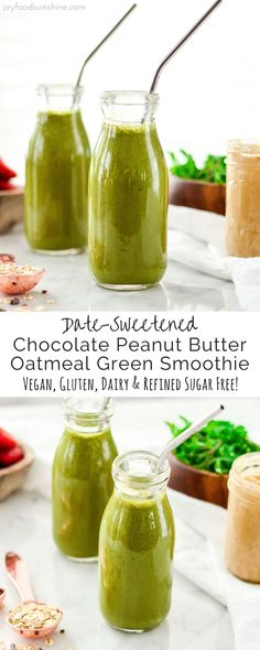 This Date-Sweetened Chocolate Peanut Butter Oatmeal Green Smoothie has no added sugar or protein powders! It's an entire breakfast in a glass! Vegan, gluten free and dairy free!
