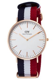 Daniel Wellington Watches Men's Classic Cambridge Red White and Blue Nylon White Dial 0103DW,    #DanielWellington,    #0103DW,    #Classic