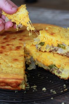 Mexican Cornbread Recipe, mine is similar. One could make a meal outta this, it's sooo good.(try without the hamburger meat) Quiche, Mexican Dishes, Mexican Food Recipes, Mexican Corn Bread Recipe, Quesadillas, Mexican Cornbread Casserole, Cornbread Recipes, Green Chili Cornbread Recipe, Homemade Cornbread