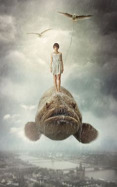 I wonder if the person who made this knew that these types of cod really do get almost this large, and that they do like to be touched and hugged by people. Creative Surreal Photo Manipulations