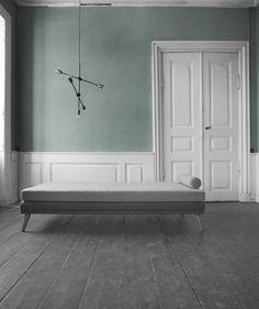 beautiful green walls and white modern interior with half boiserie Modern Interior, Interior Styling, Interior Architecture, Interior And Exterior, Interior Decorating, Exterior Paint, Exterior Design, Grey Flooring, Deco Design