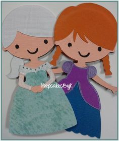 Elsa and Anna made with Cricut Create A Friend cartridge #frozen