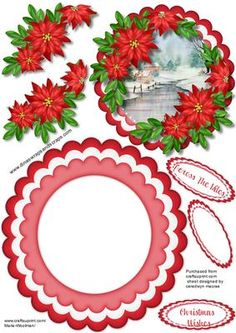 Lovely Christmas Rocker with Scene and poinsettias on Craftsuprint - Add To Basket!