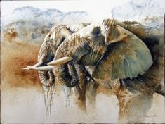 """51. Elephant Sundowners </br>Watercolour on paper</br> 22½ x 30 inches (57.2 x 76.2 cms) </br> £2,600.00</br> <strong> <b><span style=""""color:#8b0000;"""">SOLD</span></b></strong>"""