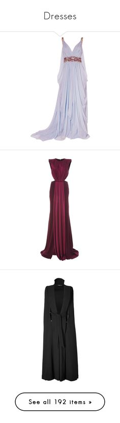 """Dresses"" by emilybrackeen ❤ liked on Polyvore featuring dresses, gowns, long dresses, purple, vestidos, satin gown, long satin dress, satin dress, purple gown and satin evening gown"