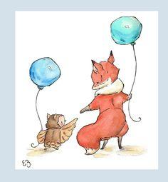 Fox and Owl go Walking PRINT 8X10 Nursery Art Wall by LoxlyHollow