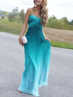 Ombre Blue Strapless Bandage Maxi Dress 17.67