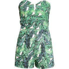 H&M Strapless playsuit (£15) ❤ liked on Polyvore featuring jumpsuits, rompers, playsuits, dresses, h&m, romper jumpsuit, jump suit, green jumpsuit, green romper and cotton romper