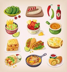 Buy Colorful Mexican Food by moonery on GraphicRiver. Mexican street, restaraunt and homemade food and product icons for ethnic menu Food Clipart, Cute Food Art, Watercolor Food, Food Stickers, Mexican Food Recipes, Ethnic Recipes, Food Painting, Food Icons, Food Drawing