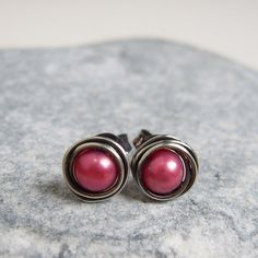 Burgundy Pearl Studs Stering Silver Wire Wrapped by VinLace, $12.00