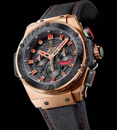While Fernando Alonso took the checkered flag at the Korean Formula 1 Grand Prix last weekend, Hublot revealed another of their own champions: the Hublot F1 King Power Red Gold watch that marks the 3rd in their collection of F1 watches in their first year of official timekeeping for the sport.The timepiece's movement uses Hublot's calibre HUB4100 Mechanical chronograph with automatic winding, with a matte black dial featuring the F1 logo at 12 o'clock.