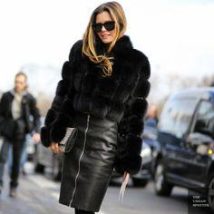 killer blackout. Paris. Fur jacket Leather pencil skirt - Street style