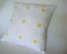 """White linen crochet daisies cushion cover """"Made to Order"""". $60.00, via Etsy."""
